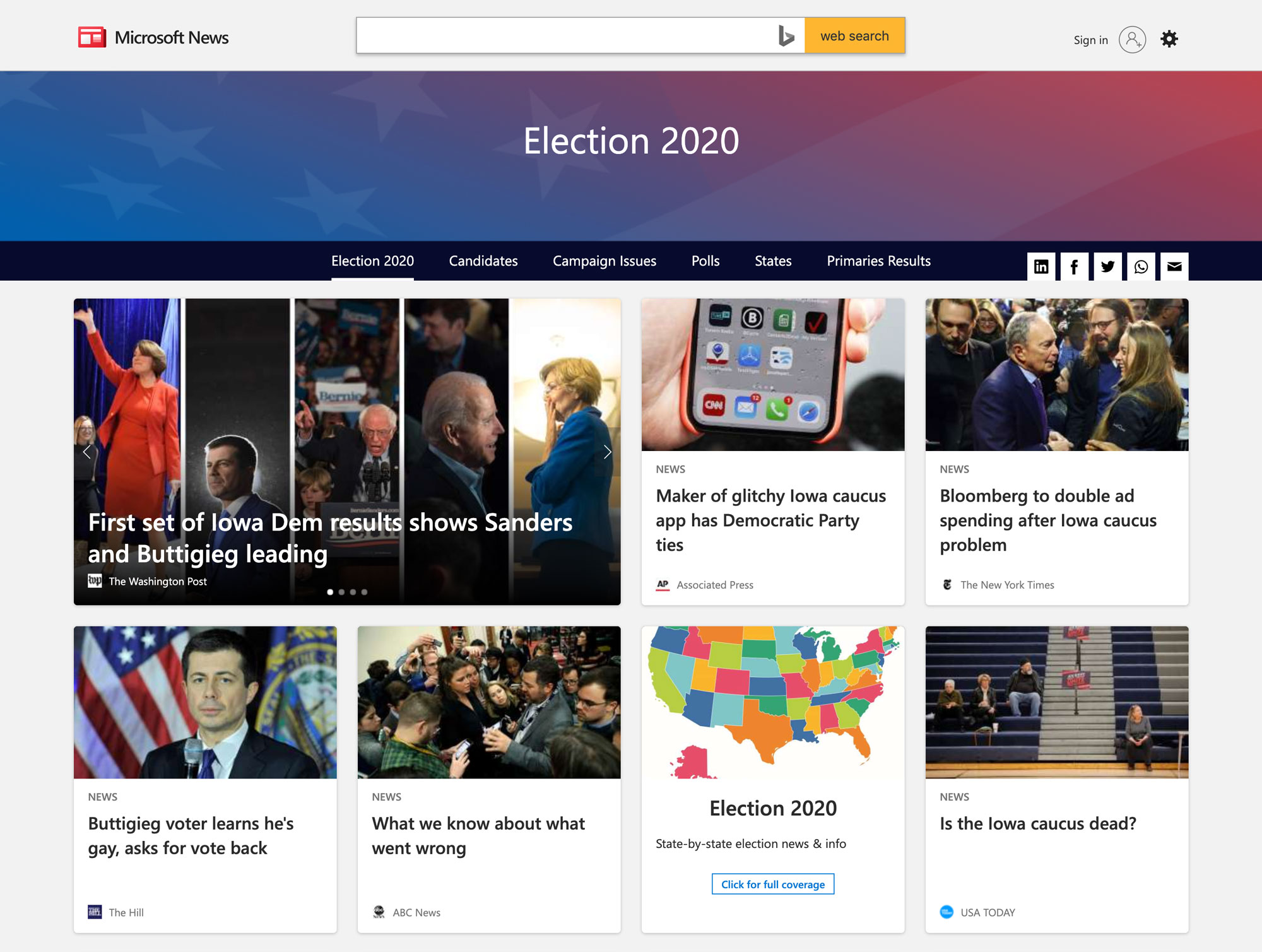 Election 2020 on Microsoft News