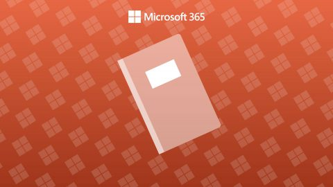 An Orange background with a Microsoft log repeating patterand an icon of a notebook.