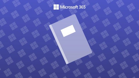 A cool purple background with a Microsoft logo repeating patterand an icon of a notebook.