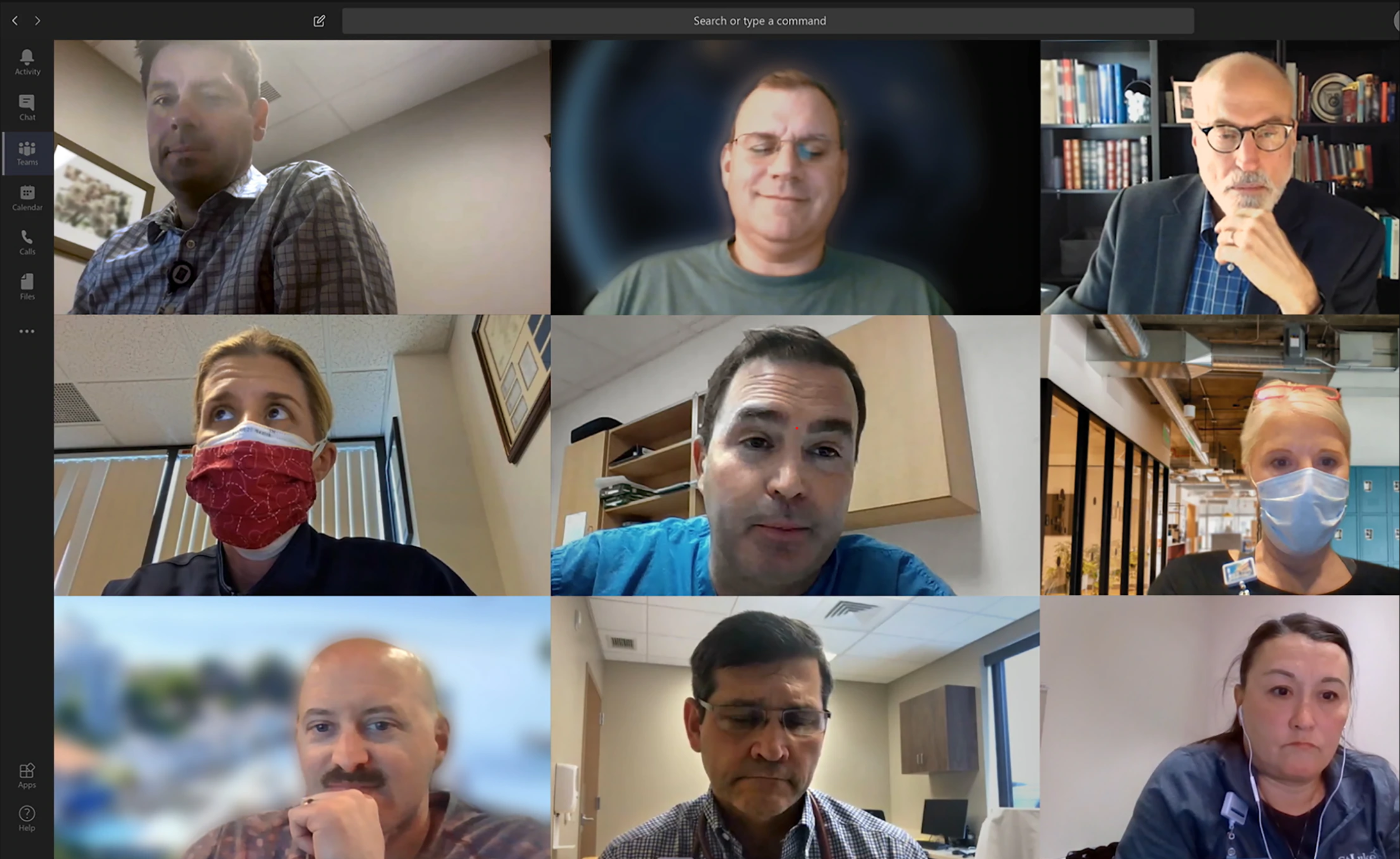 A 3x3 matrix of people using a webcam on Teams
