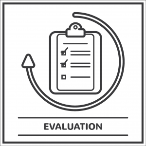 An illustration of a clipboard with an arrow circling it. The paper on it has two items checked off. Underneath, it says, Evaluation.